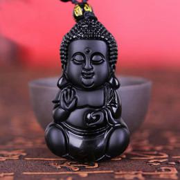 Collier pendentif en jade chinois bouddha en Ligne-Artisanat Chinois Naturel Noir Obsidienne Sculpté Chanceux Bénédiction Bébé Bouddha Amulette Pendentif Collier Jade Bijoux Dropshipping