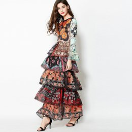 Wholesale Drape Puff - Superstar big-size models beautiful layered speaker sleeves printed Slim dress Europe and the United States catwalk dress skirt
