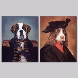 Wholesale Picture Frames Dogs - 2 Pcs Set No Framed Fashion Cool Dogs Animals General Decoration Wall Art Pictures Canvas Paintings For Living Room Home Decor