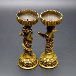 Wholesale Chinese Lamp Antique - Ancient Asian Chinese Old Bronze Handmade dragon Statue Oil Lamp Candlestick home decoration