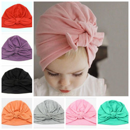 infant bunny hat Coupons - INS Baby Bunny Ear Caps Knot Head Wraps Bowknot Hats Infant Bohemia Turban Toddler Winter Beanie Newborn Fashion India Hats 9 Colors G91