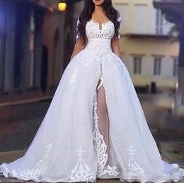 Wholesale Wedding Tulle Overskirt - Arabic White Elegant Off The Shoulder Wedding Dresses with Overskirt Long Sleeve Lace Bridal Wedding Gowns with Detachable Train