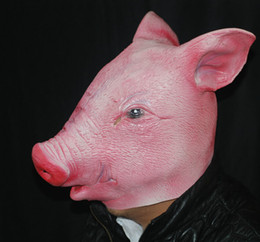 Wholesale Props Pig - Wholesale- Funny Halloween Simulation Pig Head mask Halloween supplies Halloween Latex Animal Mask Cosplay Costume Comedy Prop