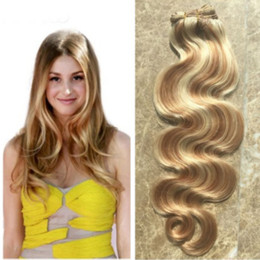 Wholesale Human Hair Extensions Blonde Highlights - Highlight Ombre Peruvian Human Hair Bundles Piano Color Virgin Body Wave Hair Extensions Mixed Color 27 613 Light Blonde Hair Weave Bundles