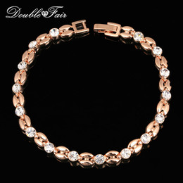 Wholesale Christmas Classics Music - Elegant CZ Diamond Party Charm Bracelets & Bangles 18K Rose Gold Plated Full Crystal Classic Wedding Party Jewelry For Women DFH061