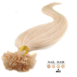Wholesale Blonde Tip Colors - Nail Tip Brazilian Virgin Human Hair Extensions 1g strand 100s pack Blonde Color #60 Bleach U Shap Stick Tip Hair Extension