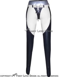 Wholesale Pencil Novelty Back - Black With White Trims Sexy Latex Leggings with Lacing Front And Back Fetish Bondage Rubber Pants Jeans Trousers