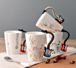 Wholesale Novelty Cups - 60pcs lot Acoustic Guitar Ceramic Coffee Mugs Creative Music Note Milk Coffee Tea Cups Home Office Mugs Novelty Gifts