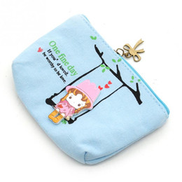Wholesale Cute Key Pouch - 2016 New Cartoon Lovely Wallet Pouch Card Purse Zip Key Holder Case Mini Canvas Bags Canvas Cute Adorable Swing Girl Coin Bag
