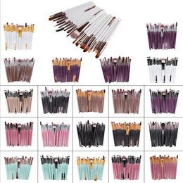 Wholesale 22 Makeup Brush Set - 22 colors 20pcs kit makeup brushes set with nylon hair cosmetic appliance make up brushes with plastic handle
