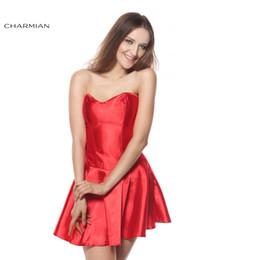 Wholesale Christmas Corset For Women - Sexy Gothic Overbust Corset Dress Christmas Corset Dress for Women Satin Red Black White Party Wedding Dress Clothing