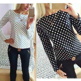 Wholesale white ruffled blouses for women - 2017 Womens Blusas Polka Dot Chiffon Shirts Women Long Sleeve Pullover Tops Body Blouses big plus size s-XL Clothes For Women