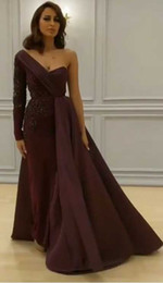 Wholesale Taffeta Sheath Dress - 2017 Middle East Evening Dresses Burgundy Prom Dresses with Asymmetrical Long Sleeve and Thigh High Split with Overskirt Pageant Dresses