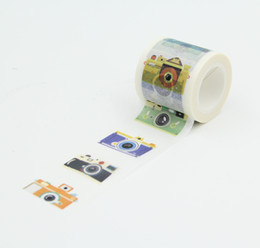 Wholesale Big Roll Paper - Wholesale- 2016 4cm x 10meter Big Roll Camera Washi Paper Masking Tapes DIY Tape Scrapbooking Sticker Decorative Stickers Party Favors