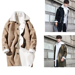 Wholesale Man Trench Coat Wool - 2017 Mens Winter Suede Trench Coat Fall-Shearling Single Breasted Trench Wool Inside Long Men's Winter Clothing