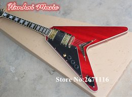 Wholesale Guitar Neck Mahogany Rosewood - Wholesale- Hot Sale 6-String Flying V Electric Guitar,Left-hand,Gold Hardware,String-thru-body Design,Mahogany Neck,can be Customized