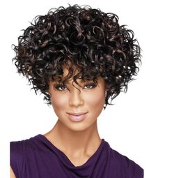 Wholesale Short Curly Synthetic Hair - Afro Kinky Curly Wig Short Quality Assurance Synthetic Hair For African Black Women Aliexpress UK Ombre U Part Wig
