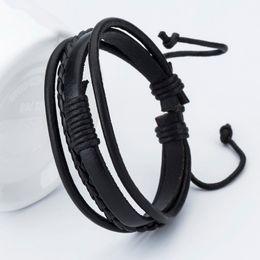 Wholesale Diy Bracelet Leather Goods - Good price! New Fashion Anchor Leather Men's Bracelets Popular Bangle DIY Handmade Weave Charm Black Bracelets Pulseras!