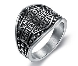 Wholesale Tibet Silver Rings Wholesale - 316 stainless steel fashion silver black motorcycle mens ring band party hot large size biker mens ring size 7~15