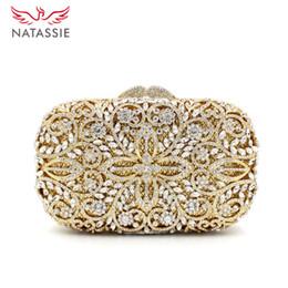 Wholesale Satin Clutch Pattern - Wholesale-Luxury Crystal Clutch Bag Lady Famous Design Flower Pattern Evening Bag Women Wedding Party Clutch Purses Gold L2068