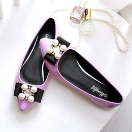 Wholesale Flat Leather String - Shoes Woman String Bead Loafers Rhinestone Ballet Flats Shoes Bow Pointed Toe Sandals Shallow Slip on Slides Black Gray Rose Red Apricot