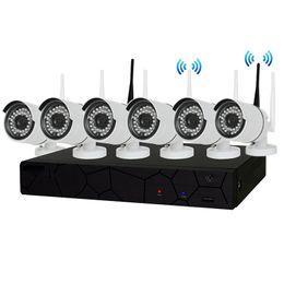 Wholesale Wireless Wifi Cctv Ip Camera - 8CH CCTV System Wireless 960P NVR 6PCS 1.3MP IR Outdoor P2P Wifi IP CCTV Security Camera System Surveillance Kit