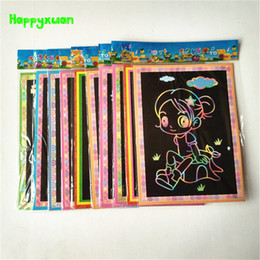 Wholesale Magic Color Scratch Paper - Happyxuan 50pcs lot Wholesale 12.5*17.5cm Magic Color Scratch Art Paper Scraping Drawing Picture Children's toys