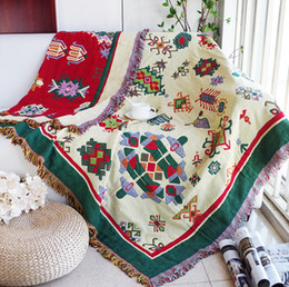 Wholesale Knit Queen Blanket - Double sides reversible useful geometric pattern cotton blanket, durable wearable comforter , sofa cover, pet blankets ,