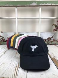 Wholesale Cream Gun - Top selling Uzi Gun Baseball Cap US Fashion 2017 bone masculino Snapback Hip hop Cap HEYBIG Curve visor 6 panel dad Hat casquette