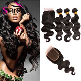 Wholesale Unprocessed Grade Virgin Hair - Brazilian Body Wave Virgin Hair Weave With Closure Straight 8A Grade 3 Bundles Unprocessed Brazilian Human Hair Weave Add Lace Closures