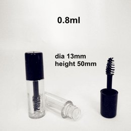 Wholesale Mini Mascara - 0.8ml Mini Clear Empty Mascara Tube Eyelash Cream Vial Liquid Bottle Sample Cosmetic Container with Leakproof Inner Black Cap Free Shipping