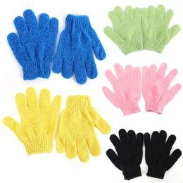 Wholesale Massage Bath Glove - Wholesale-1 Pair Shower Bath Gloves Exfoliating Wash Skin Spa Massage Scrub Body Scrubber Glove 9 Colors(radom color)