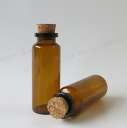 Wholesale Wooden Bottle Container - 30 x 20ml Amber Glass Bottle With Wooden Cork, 20CC Corked Glass Bottle, Empty Glass Container with Cork