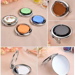 Canada Chaud! Livraison Gratuite DHL Miroir De Poche Miroir Compact Idéal pour Le Cosmétique DIY Maquillage Miroir Portable Métal Cristal Cosmétique Miroir Cadeau De Noce Offre