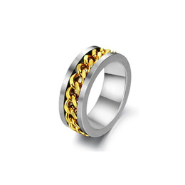 Wholesale Alternative Gifts - Men 8mm Punk Gold Rotatable Twisted Chain Inlay Stainless Steel Ring Rock Biker Alternative Silver Band