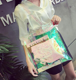 Wholesale one shoulder tote - The summer women's bag is a new transparent bag with a one-shoulder, one-shoulder bag purse with free shipping