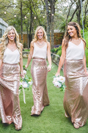 Wholesale Two Tone Formal Dresses - Two Tone Country Bridesmaid Dresses White and Rose Gold Sequins 2017 Cheap Formal Party Gowns Wedding Maid of Honor Dress Plus Size Cheap