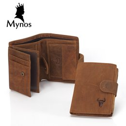 Wholesale Zipper Chain Wallet For Men - Wholesale- MYNOS Luxury Brand Designer Cowhide Leather Vintage Trifold Hasp Wallet For Men Big Capacity Short Purse Coin Pocket PortfolioS