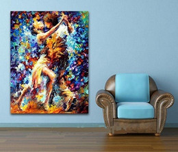 Wholesale Oil Painting Frame Knife - Framed Hot Couple Dance Palette Knife,Handpainted Abstract portraits Wall Art Decor Oil Painting On Canvas,Multi sizes available Ab171