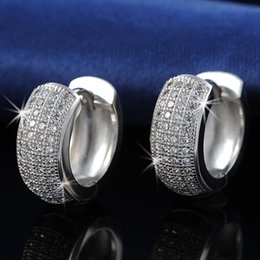 Wholesale 925 Studs - ORSA New Arrival Small Circle 925 Silver Earring Micro Zircon Crstal Paved Earring for Ladies OE100
