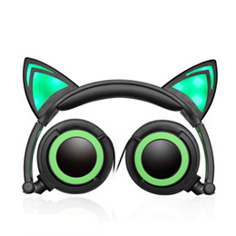 Wholesale Headphone Cute - Foldable Flashing Glowing Cute Cat Ear Headphones Gaming Headset Earphone with LED light For PC Laptop Computer Mobile Phone 50pcs