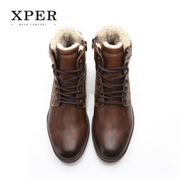Wholesale Wholesale Winter High Heel Boots - XPER Brand Men Shoes Fall Winter Men Boots High-Cut Lace-up Warm Men Casual Shoes Fashion #XHY12509BR