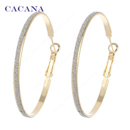 Wholesale Big Hoop Earrings For Women - CACANA Gold Plated Hoop Long Earrings For Women Big Round With Flash Point Bijouterie Hot Sale No.A842 A843