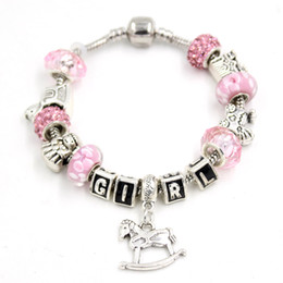 Wholesale European Baby Charms - Newest DIY Baby Prom Rocking Horse Bracelet European lampwork Bead Letter GIRL Bracelets for Welcome Girl Gift Jewelry Bijoux Pulsera