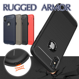 Wholesale Armor Cellphone - For IPhone X 8 8Plus Armor Case Brushed Cellphone Cases With Anti Shock Absorption Carbon Fiber Design For Iphone 7 7Plus OPP Bag