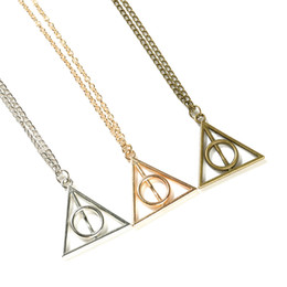 Wholesale Fans Asian - Luna Deathly Hallows Pendant Necklace film movie jewelry for fans Triangle round pendant retro jewelry silver bronze Sweater chain 10