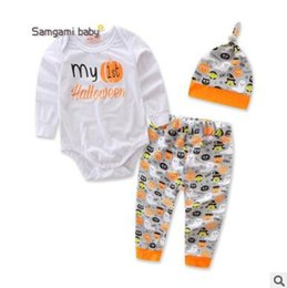 Wholesale Long Sleeve Baby Bodysuit 24 - Baby Halloween Christmas Clothing Romper Sets Newborn Long Sleeve Letter Bodysuit Pumpkin Pants Hat Set Kids Xmas Gift Boutique Clothing 951