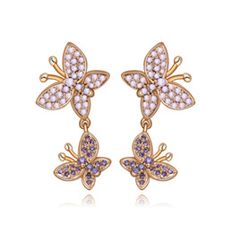 Wholesale Korea High Quality Earrings - 2017 New Korea Style High Quality Double Butterfly Shaped Statement Cute Animal Earrings For Women Wedding Party Brinco Bijoux AE003