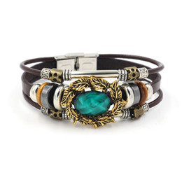 Wholesale Buckle Style Rings - Fashion Jewelry 6 Colors Option National Style Beaded Bracelets for Women Multiple Layers Cowhide Stainless Steel Buckle Charm Bracelets