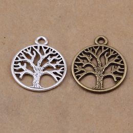 Wholesale Tree Pendants Antique - Wholesale-30pcs Tree of the life Vintage Bronze Tone Antique Silver Pendant Charms For DIY handmade 25mm*20mm